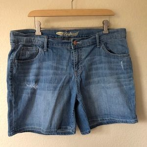 OLD NAVY Blue Jean Boyfriend Shorts  Stretch 14